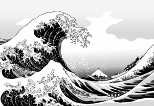 paintings waves boats grayscale vehicles the great wave off kanagawa katsushika hokusai thirtysix v_www.artwallpaperhi.com_93