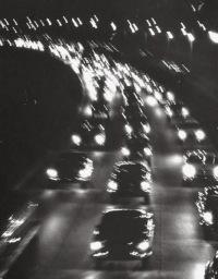 Night traffic on the Major Deegan Expressway.