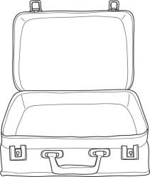 suitcase Luggage Vintage hand drawn cute vector line art illustration